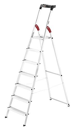 Hailo L60 StandardLine Alu-Sicherheits-Stehleiter, 7 Stufen, Ablageschale, belastbar bis 150 kg, silber, made in Germany, 8160-707