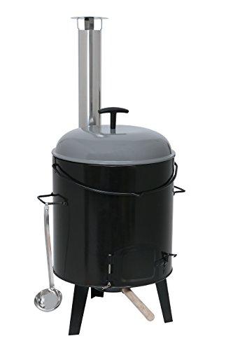 Kamino-Flam Eintopfofen mit Grillfunktion 17 l - Gulaschkanone aus Stahlblech emailliert - Gulaschkessel-Set 6-teilig - Suppenkessel Dreibein inkl. Zubehör - Ungarischer Gulaschkessel - Outdoor-Küche