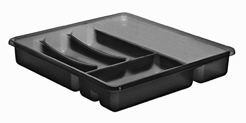 Rotho 1753108812 Besteckkasten Basic 6 Fächer, Schubladeneinsatz für Besteck aus Kunststoff (PP) Anthrazit, Besteckeinsatz für Schubladen ab 40 cm Breite, circa' 39 x 32 x 6 cm Besteckkasten, Plastik