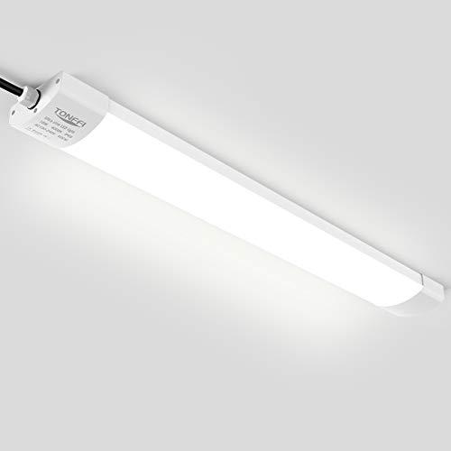 LED Feuchtraumleuchte Deckenleuchte 60cm 18W für Garage Keller Bad Werkstatt Feuchtraum Warenhaus | Tonffi LED Wannenleuchte Feuchtraumlampe Röhre | Wasserdicht IP65 Neutralweiß 4000K-4500K