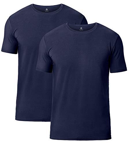 LAPASA 2er Pack Herren T-Shirts - SUPER WEICHES Micromodal - Business Kurzarm Unterhemd mit Rundhalsausschnitt Für Männer M07