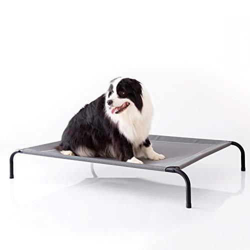 Bedsure Hundeliege grau in und Outdoor Garten, für draußen Camping erhöhtes Hundebett, Größe in XL 124x90 cm, höhe in 20 cm