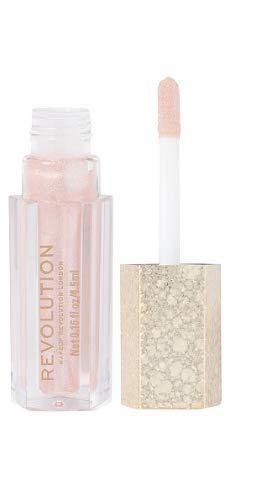 MAKEUP REVOLUTION Jewel Collection Lip Topper (Exquisite) - Rosa-Goldschimmernder Lipgloss mit Duo-Chromeeffekt, 1er Pack(1 x 4.5 grams)