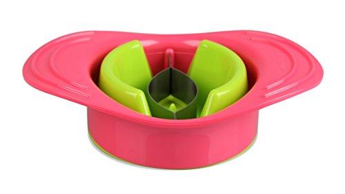 Fackelmann Mango-Entkerner, Mangoschneider aus Kunststoff mit Halteschale, Haushaltsgerät (Farbe: grün/koralle; Maße: 13 x 18 cm), Menge: 1 Stück