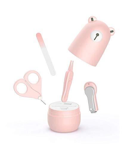 Baby 4 in 1 Nagel- und Nagelpflegeset mit Nagelknipsern, Nagelknipsern, Nagelfeilen und süßem Bären-Geschenkpapier für Kinder und neugeborene Läuse (Rosa)