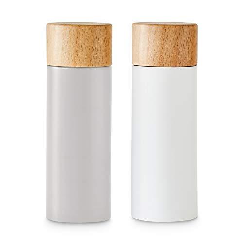 Salz- und Pfeffermühlen-Set 2 tlg. | Gewürzmühle aus Birkenholz im Scandi-Design | Verstellbares Keramikmahlwerk, Grinder, Unbefüllt & Nachfüllbar | Grau/Weiß