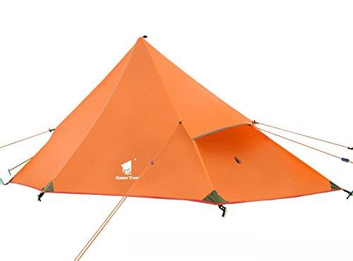 GEERTOP Kuppelzelt Rucksack Zelt Minipack 20D Ultralight - 210 x 90 x 105 cm (1200g) -1 Personen 3 Saison für Camping Wandern Klettern (nicht im Lieferumfang enthalten) (Eisenblau, Außenzelt + Innenzelt)