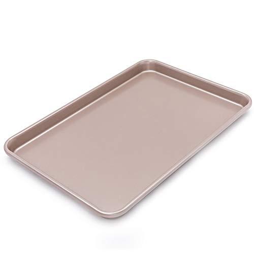 CHEFMADE Backblech, Kuchenblech für die Küche Antihaft-Backblech, für Ofenbraten von Fleischbrot Biskuitrolle Pizza Gebäck, Maße: 39x26x2.5cm, Champagner Gold