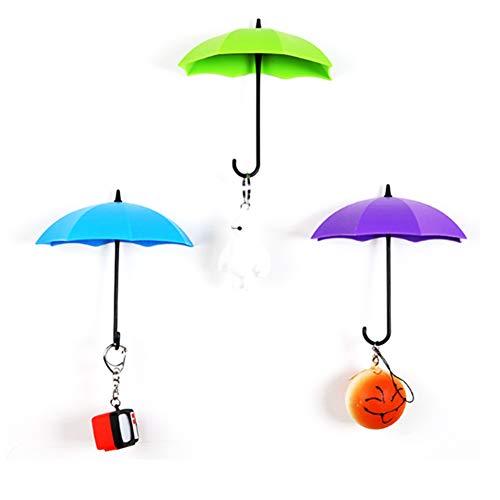 TrifyCore 3 Stück Abnehmbarer Regenschirm Farbe in Form von Wandaufhängern Selbstklebend Lagerung Schlüssel 3D Haken Wandetikett (zufällige Farbe)
