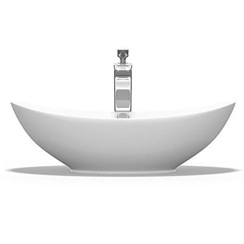 Aufsatzwaschbecken Oval aus Keramik 58x38 cm Waschschale Waschtisch mit Nano-Beschichtung Br818 Mai & Mai