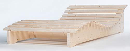 TUGA - Holztech Naturholz Massive wetterfeste extrem Stabile stehende Liege Relaxliege Massivholzliege Liege Formliege Liegelänge 205cm 120cm breit