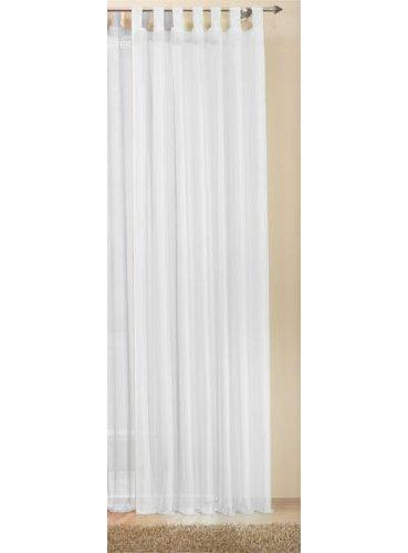 Schlaufenschal Gardine uni transparent Voile, 225x140, Weiß, 61175