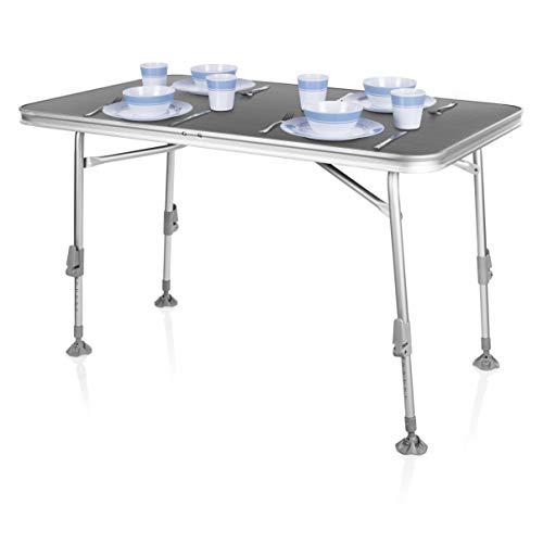 Campart Campingtisch/ Reisetisch - 115 x 70 cm wetterbeständige Rolltischfläche/ höhenverstellbar/ einfach auf- und zusammenklappbar, TA-0859
