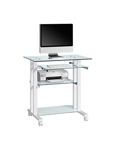 Maja 16509799 Computertisch, 800 x 837 x 510 mm, Metall weiß / Glas