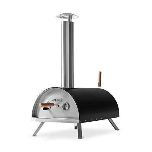 Edelstahl Outdoor Pizzaofen Nero von BURNHARD inkl. Pizzaschieber & Pizzastein, hochwertiger Pizza-Backofen, Premium Holzofen für den Garten & Outdoor, Pellets, Kohle und Briketts geeignet!