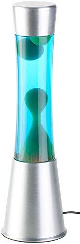 Lunartec Alu-Lavalampe: Lavalampe mit blauer Flüssigkeit & grünem Wachs, Glas & Aluminium (Lavalampe für Stimmungslicht)