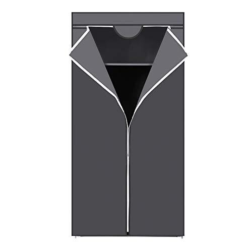 SONGMICS Stoffschrank, Kleiderschrank, Faltschrank mit Kleiderstange, Kleiderständer, Aufbewahrung für Taschen, Spielzeug, Schuhe, Schlafzimmer, Ankleidezimmer, 75 x 45 x 160 cm, grau RYG83GY