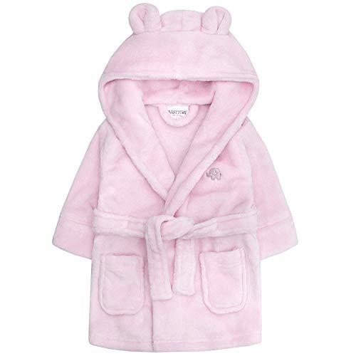 Baby Jungen & Mädchen Unisex Bademantel (Altersstufen 6-24 Monate) Weiches Plüsch Flanell Fleece mit Kapuze Bademantel - Rosa, 0-6 Monate