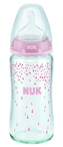 NUK First Choice+ Babyflasche aus Glas, kiefergerechter Trinksauger, 0-6 Monate, 1 Stück (rosa, 240ml)