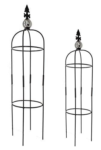 DARO DEKO Metall Rankhilfe Obelisk schwarz 2er Set