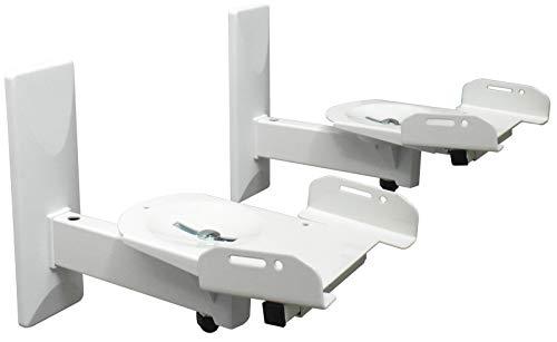 DRALL INSTRUMENTS 2 Stück (Paar) Wandhalterung für Lautsprecher Boxen - bis 12 kg belastbar - Boxenhalter für Audio Speaker - Neigbar Schwenkbar Drehbar - Wandhalter verstellbar weiß Modell: BH5Wx2