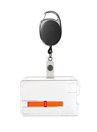 1x Ausweis-Set RMJH-01 Jojo schwarz mit Schlaufenclip + Ausweishülle mit rotem Schieber