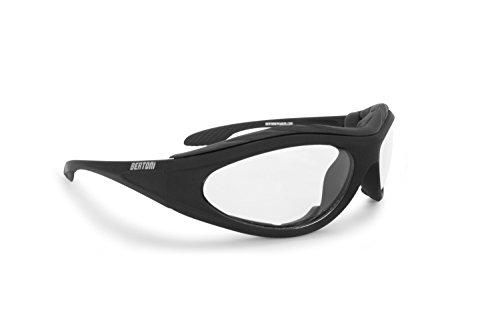 BERTONI Motorradbrille Beschlagfrei Windschutz - Matt Schwarz AF125 Bikerbrillen (Transparent Lens)