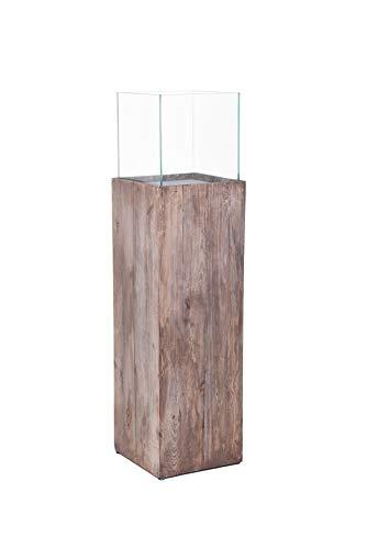 Vivanno Windlichtsäule Windlicht Recycling Holz Candela Braun, 100x27x27 cm