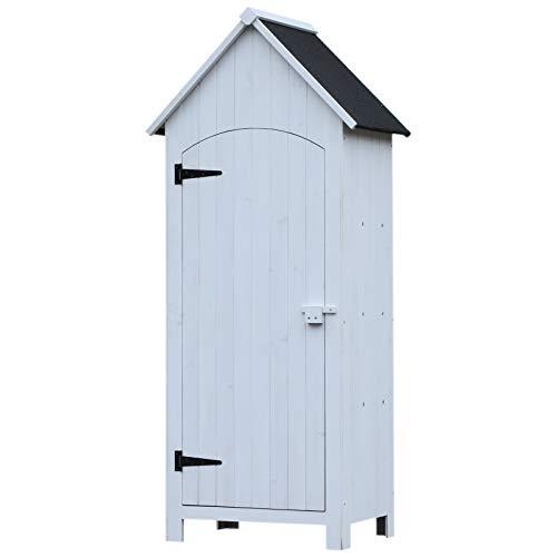 Outsunny Holz Gartenschrank Gerätehaus Gartenhaus Geräteschuppen Geräteschrank Holzhütte Giebeldach Bitumenpappe Weiß 77,5 x 54,2 x 179,5 cm