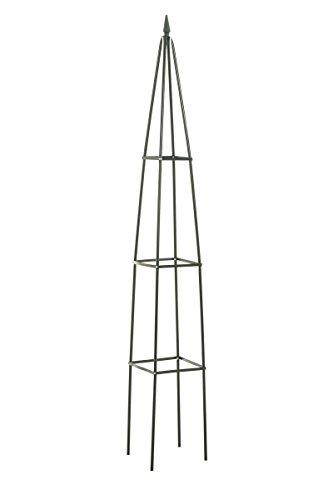 CLP Metall-Rankhilfe / Rosensäule PYRAMIDE, Maße 27 x 27 cm, Durchmesser 40 cm, Höhe 190 cm Grün, einzeln