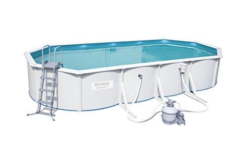 Hydrium Pool Set oval, mit Sandfilteranlage, Oberflächenskimmer, Leiter und Bodenplane, 740x360x120 cm, weiß