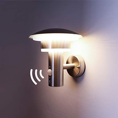 NBHANYUAN Lighting LED Außenlampe mit Bewegungsmelder Aussenwandleuchten Silber Edelstahl 3000K Warmweiß Licht 220-240V 1000LM 9.5W IP44 (mit Bewegungsmelder)