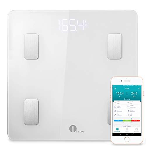 Körperfettwaage 1byone Bluetooth Personenwaage mit iOS und Android APP, Smart digitale Waage für Körperfett, BMI, Gewicht, Muskelmasse, Körperwasser, Muskemaße, Skelettmuskel, Knochengewicht, BMR, usw