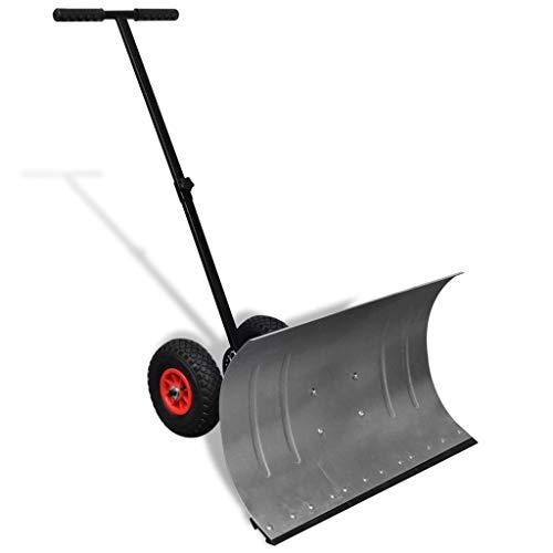 Tidyard Metall Schneeschaufel Schneeschieber Hand-Schneepflug mit 2 Rädern Einstellbar Schneeräumer