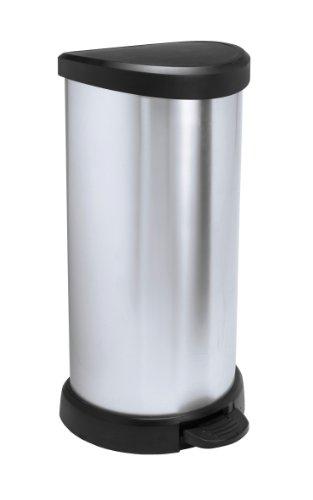 Curver 02150 'Metallic's' Abfallbehälter 40 Liter, metallic-silber
