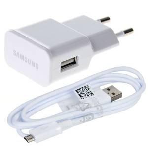Original Samsung Micro USB Handy Ladegerät plus Ladekabel - Datenkabel in der Farbe Weiß für kompatible Samsung Mobiltelefone