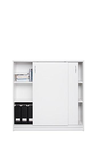 Schiebetürenschrank mit Aluminium-Laufschiene / Aktenschrank (B/H/T: ca.: 109 x 111 x 39 cm) Topplatte 22 mm gesoftet, (Melaminharzbeschichtet - kratzfest & wasserabweisend) weiß
