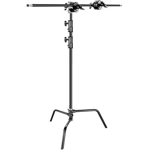 Neewer Foto Studio Schwer Pflicht 10Fuss/3 Meter veränderlich C-Stand, 4 fuss/1,2 Meter Holding Arm, 2 Stück Griff kopf für Video Reflektor, Monolight und andere fotografische Gerät (Schwarz)