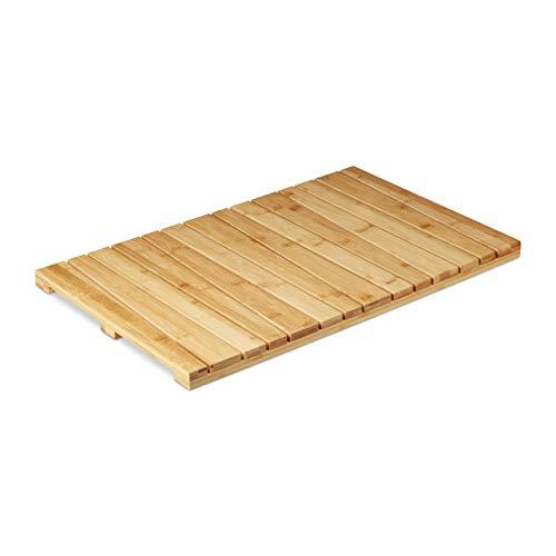 Relaxdays, naturfarben Bambusmatte, für Badezimmer, Stopper, hygienisch, feuchtigkeitsbeständig, Fußmatte 40x65 cm, Standard