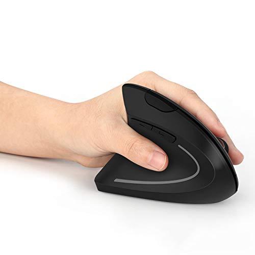 Jelly Comb Ergonomische Funkmaus für Linkshänder, Vertikale Kabellose Maus DPI 800/1200/1600 Einstellbar mit USB Empfänger für Laptop, PC, Notebook, Schwarz
