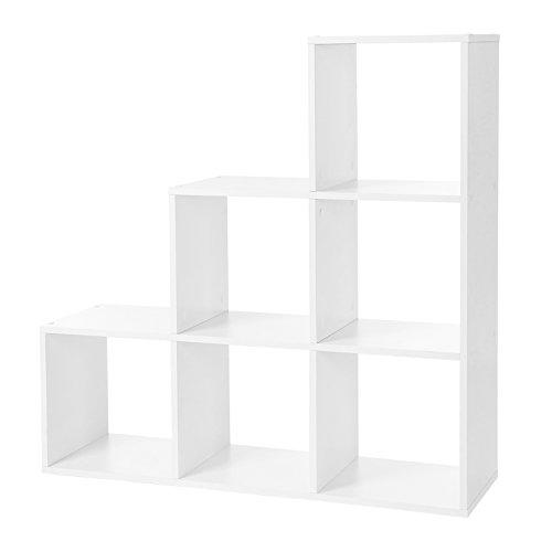 VASAGLE Bücherregal, Treppen-Regal, 6 Würfel-Fächer, Ausstellungsregal aus Holz, freistehendes Regal, Raumteiler, Weiß LBC63WT
