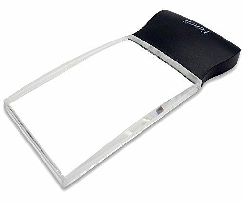 Fancii LED 2X großes rechteckiges Leselupe Handlupe mit Licht - 102 x 58 mm randlose unverzerrte Lupe mit Beleuchtung geeignet für Senioren, zum lesen von Büchern, Magazinen, Zeitungen und Landkarten