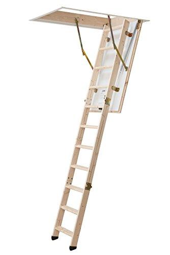 DOLLE Bodentreppe, wärmegedämmt, 120 x 60 cm, 3-teiliges Leiternteil für lichte Raumhöhen bis 285 cm. U-Wert 1,30. Inkl. Bedienstab und Handlauf. Geprüft mit Überlast für 150 kg Traglast. Produziert nach DIN EN 14975.