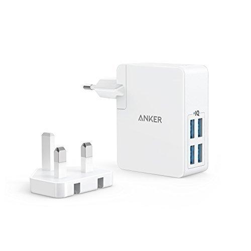 Anker PowerPort Lite 27W 2.4A 4 Port USB Ladegerät mit Austauschbarem UK und EU Reiseadapter und Power IQ für iPhone 8 / 8 Plus / 7 / 6s, iPad Air / mini, Samsung Galaxy / Note, LG, HTC usw. (Weiß)