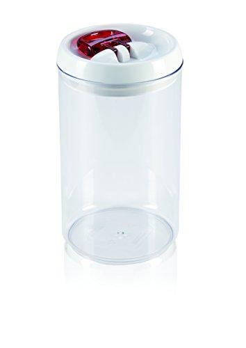Leifheit Fresh&Easy Vorratsbehälter, rund, luft- und wasserdichte Vorratsdose mit patentierter Einhand-Bedienung, Frischhaltedose, stapelbare Aufbewahrungsboxen, transparent, 2,0 L, rot