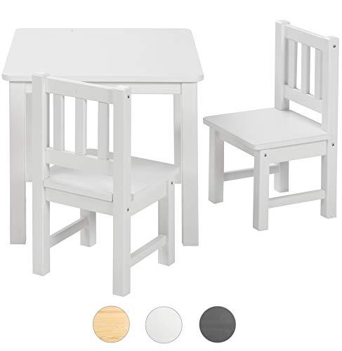 BOMI Kindertisch mit 2 Stühlen Amy aus Kiefer Massiv Holz für Kleinkinder, Mädchen und Jungen Weiß