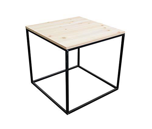 Metall Beistelltisch mit Holz Tischplatte - 45x45x42 cm - Couchtisch Sofatisch Tisch