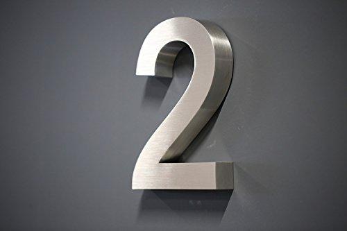 Hausnummer Premium Edelstahl in 3D Design Arial 'ALLE ZAHLEN' H20cmxT3cm V2A TOP (Arial 20cmx3cm Nr.2)