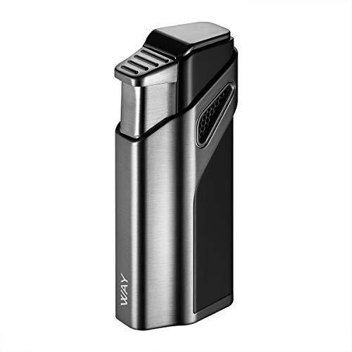 VVAY Sturmfeuerzeug Zigarrenfeuerzeug Jetflamme, 3 Turbo Jet Zigarren Feuerzeug mit Bohrer Gas Nachfüllbar, Schwarz (Verkauft ohne Gas)