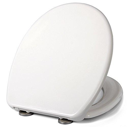 eSituro STS0099 Toilettensitz WC sitz Toilettendeckel * Absenkautomatik/Softclose * abnehmbar/Fast Fix/Schnellbefestigung * easyclean * Duroplast Cremeweiß